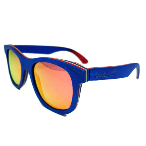 Blue bamboo sunglasses with orange polarized lens