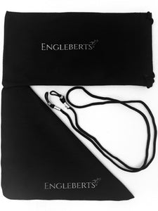 microfiber cloth, pouch and straps