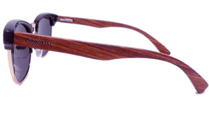 side view of walnut sunglasses