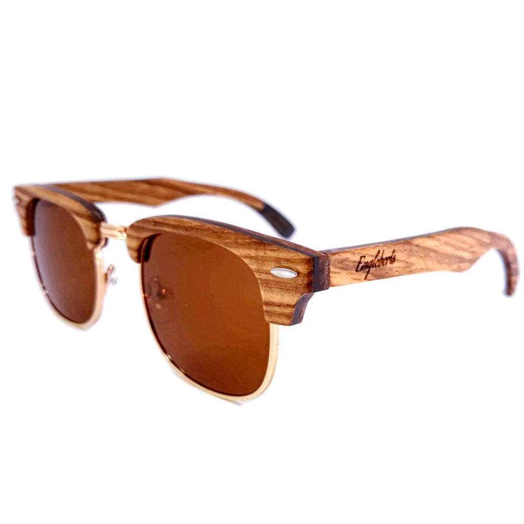 Zebrawood mixed with ebony wooden sunglasses