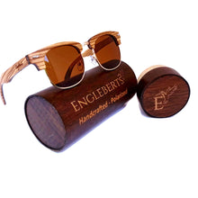 Load image into Gallery viewer, Zebrawood and ebony wooden sunglasses with wood case
