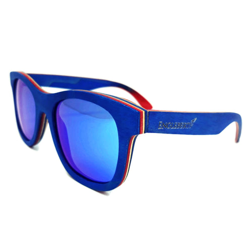 blue polarized lens with blue bamboo sunglasses