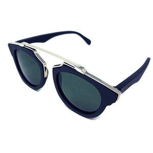 black wood with silver metal frame sunglasses top view