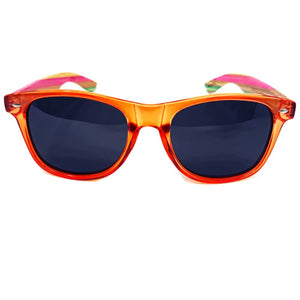 multi colored bamboo sunglasses front view