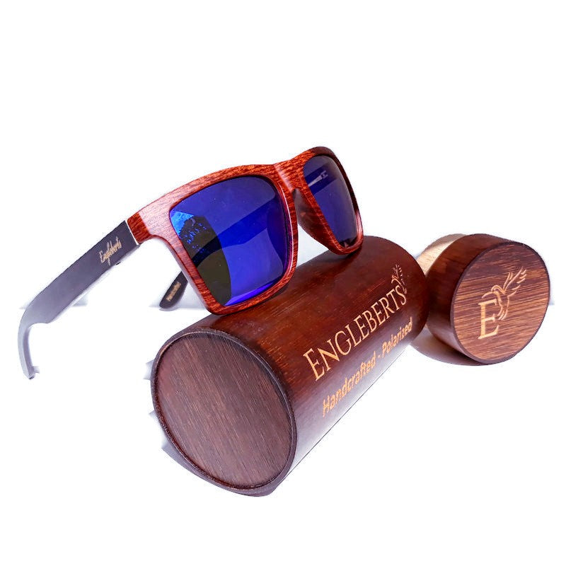 oak frame bamboo sunglasses with case