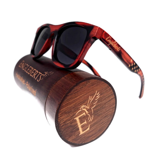 Red Burnt Bamboo Sunglasses with Stars and Stripes and Wood Case