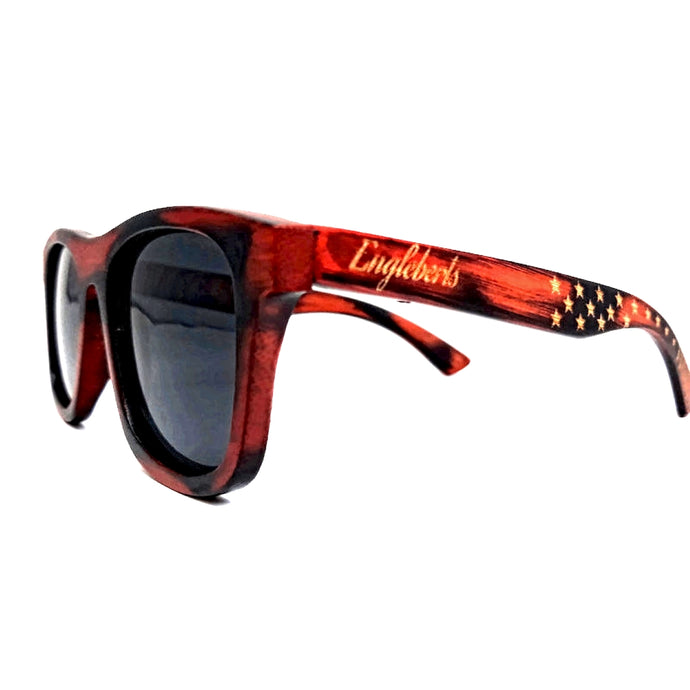 Burnt Bamboo Sunglasses Stars and Bars Pattern