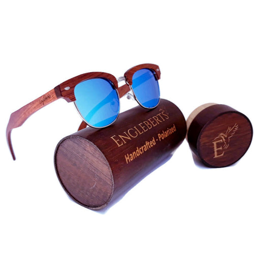 Sandalwood sunglasses with wood case and ice blue polarized lens