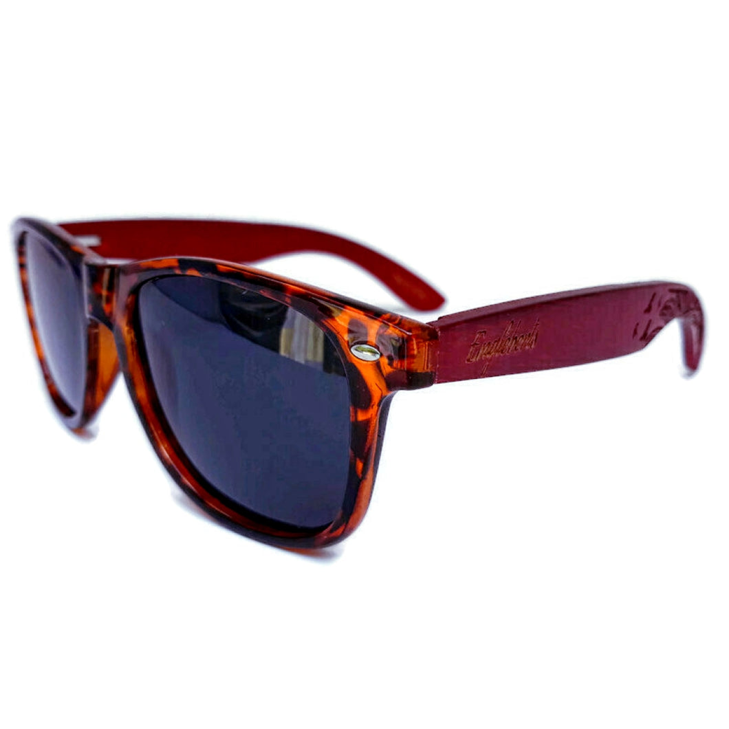 tortoise framed red bamboo sunglasses