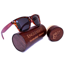 Load image into Gallery viewer, Tortoise framed bamboo sunglasses with wood case