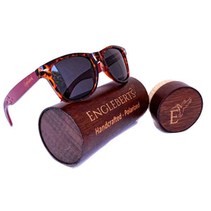 Tortoise framed bamboo sunglasses with wood case