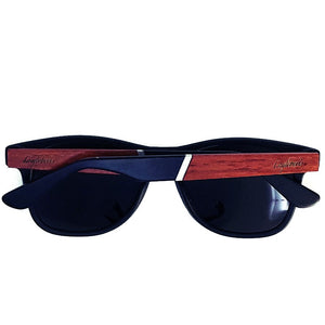 cherry wood and acetate sunglasses rear view