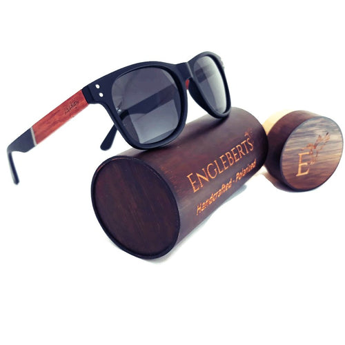 cherry wood and acetate sunglasses with wood case