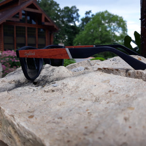 cherry wood and acetate sunglasses side view