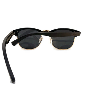 black skateboard wood sunglasses rear view
