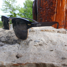 Load image into Gallery viewer, black bamboo sunglasses quarter view