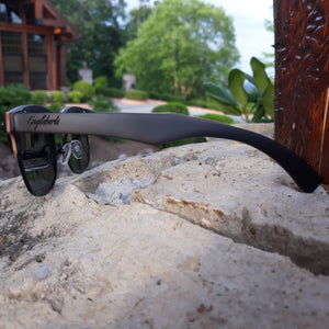 black skateboard wood sunglasses right side view