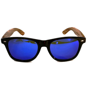 blue lenses bamboo sunglasses front view