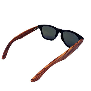 blue lenses bamboo sunglasses top view