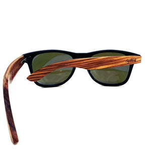 blue lenses bamboo sunglasses rear view