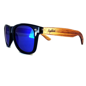 blue lenses bamboo sunglasses quarter view