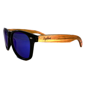 blue lenses bamboo sunglasses side view