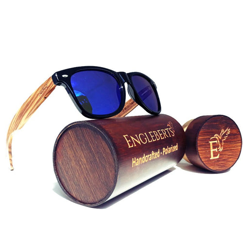 zebrawood sunglasses with wooden case