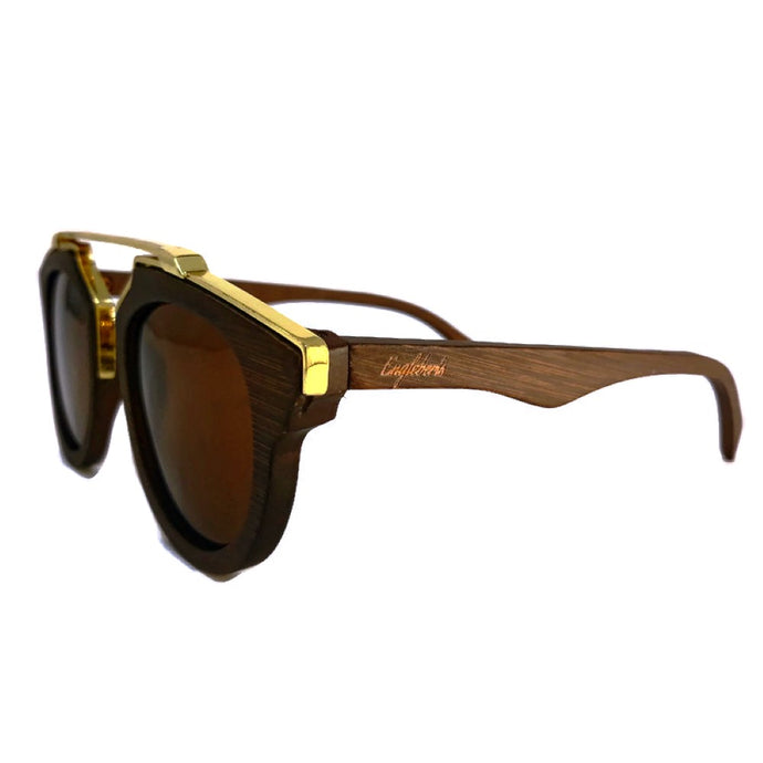 cherry wood with gold frame sunglasses  side view