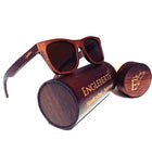 Sienna Wooden Sunglasses With Bamboo Case, Tea Colored Polarized Lenses, Handcrafted