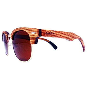Ebony and ZebraWood Sunglasses, Tea Colored Polarized Lenses