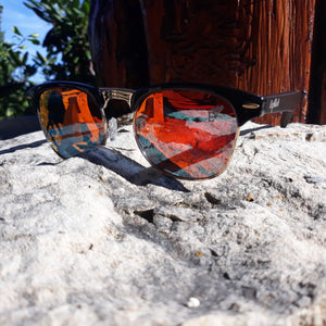 fire at night sunglasses quarter view outdoors