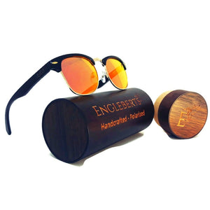 black bamboo sunglasses with red lenses and wood case