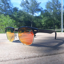 Load image into Gallery viewer, fire at night sunglasses front view outdoors