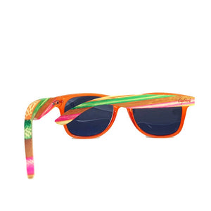 multi-colored bamboo sunglasses rear view
