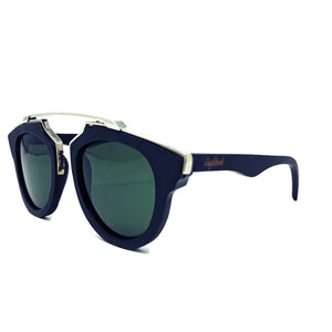 black wood with silver metal frame sunglasses quarter view
