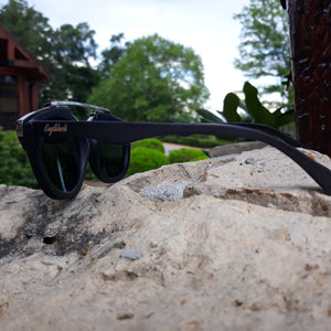 black wood with silver metal frame sunglasses side view outdoors