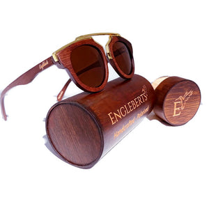 cherry wood with gold metal frame sunglasses  and wood case