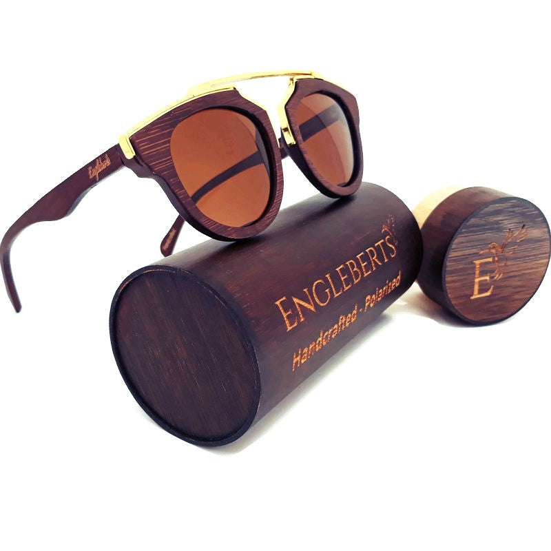 cherry wood with gold metal frame sunglasses with case