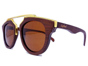 cherry wood with gold metal frame sunglasses  side view