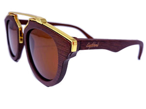 cherry wood with gold metal frame sunglasses
