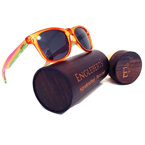 multi colored sunglasses with wood case