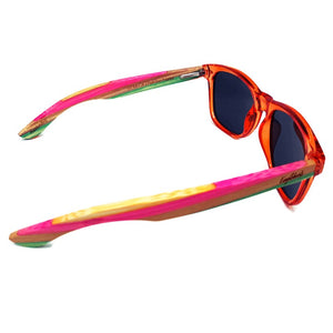 multi colored bamboo sunglasses top view