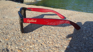 red bamboo sunglasses outdoors