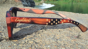 Engleberts Sunglasses wooden with american flag