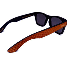 Load image into Gallery viewer, red stripe bamboo sunglasses top view