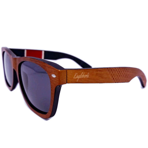 Red stripe bamboo sunglasses outdoors quarter front view