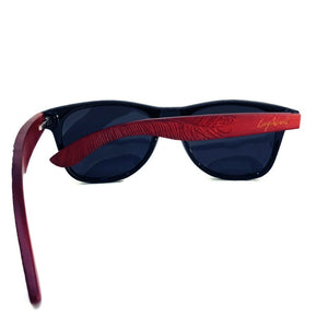 red bamboo sunglasses rear view