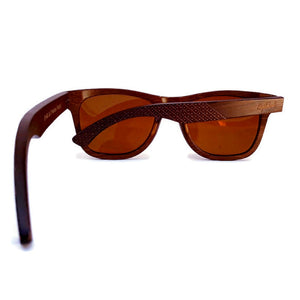 brown wooden sunglasses rear view