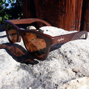 Sienna Bamboo Sunglasses with Tea Colored Polarized Lens and Wooden Case
