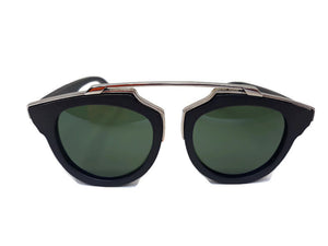 black wood with silver metal frame sunglasses front view